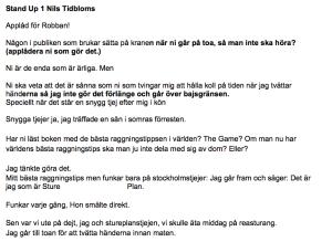 Nils manus sida 1 stand-up Göteborg