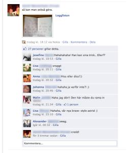 Facebookkommentarer till kärleksbrev